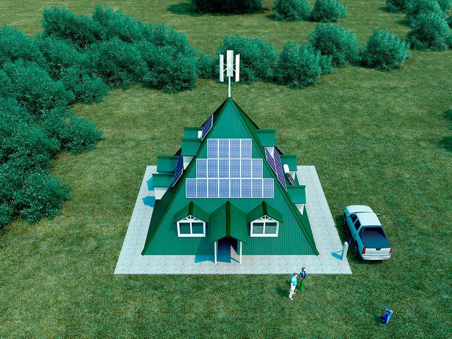 casa piramidal con paneles solares