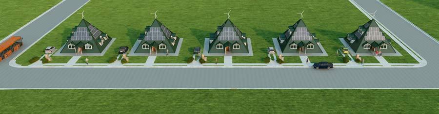 conjunto de exterior casas piramidales