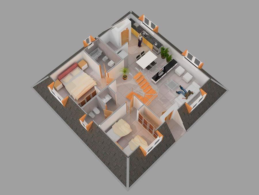 plano interior casa piramidal