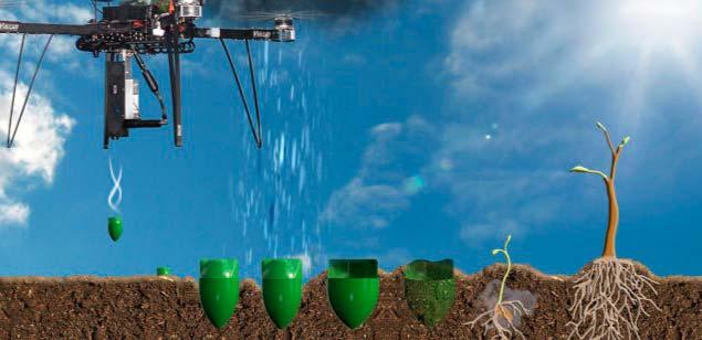 dron planta semillas