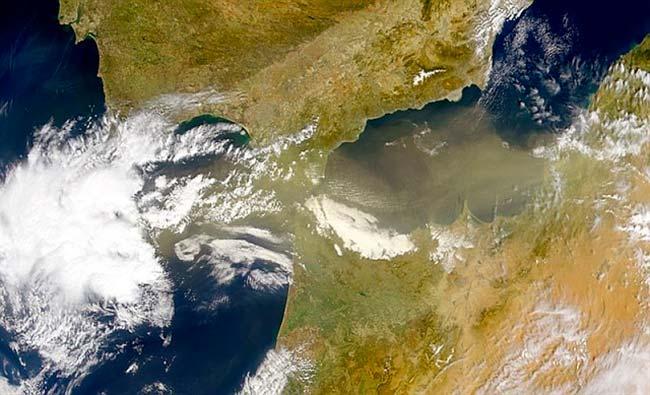 aire sahariano con polvo y bacterias