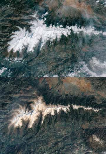 Nieve de Sierra Nevada con polvo y bacterias