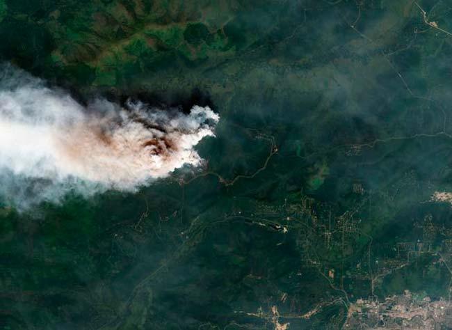 incendios forestales en regiones árticas visión aérea