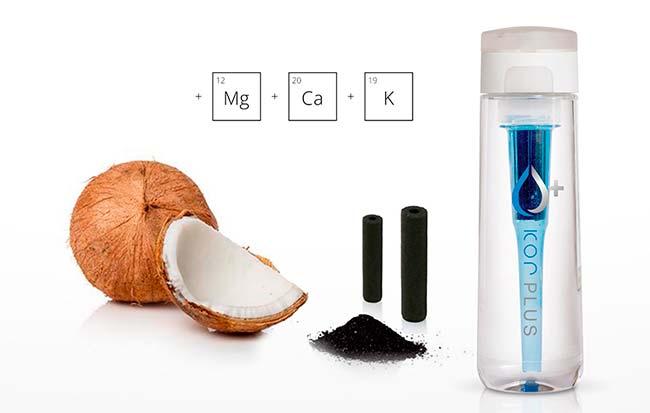 filtro carbon activo de coco en botella de agua