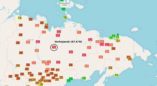 38 grados en Verkhoyansk mapa