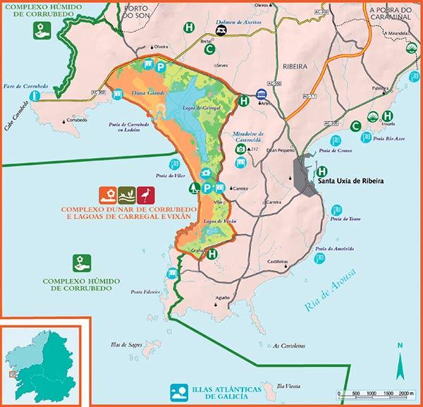 Parque de Corrubedo Galicia mapa
