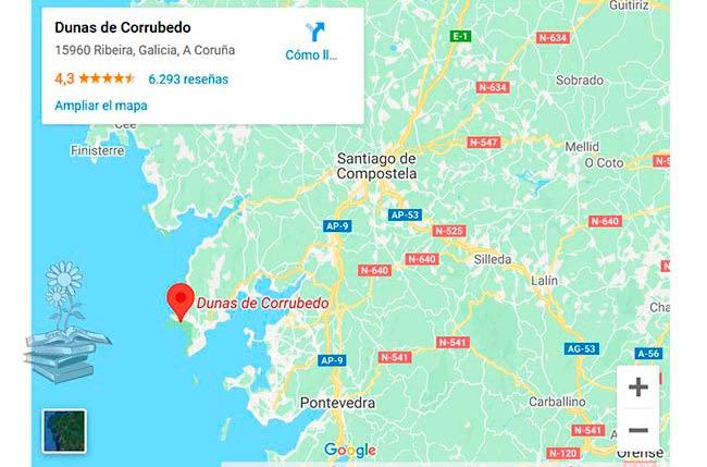 Corrubedo mapa Galicia como llegar