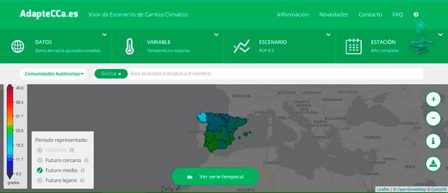 escoger region Visor de escenarios de cambio climatico